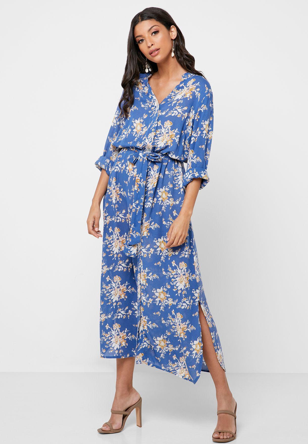 Tie Sleeve Floral Print Shirt Dress