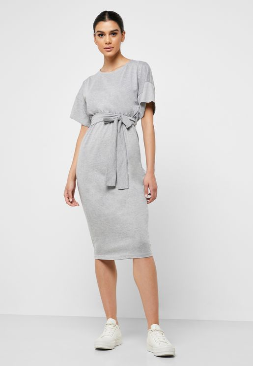 Kimono Sleeve Self Tie Midi Dress