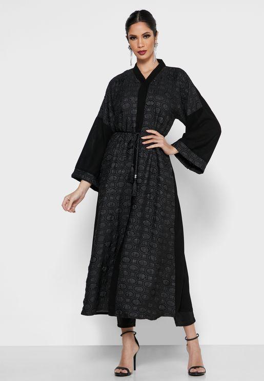 Patterned Tassel Abaya