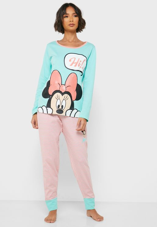 Minnie Print T-Shirt & Pyjama Set