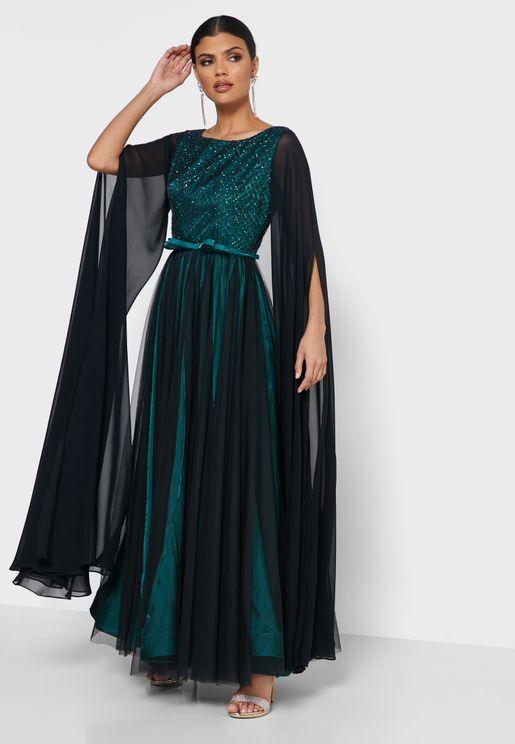 Split Sleeve Pleated Dress