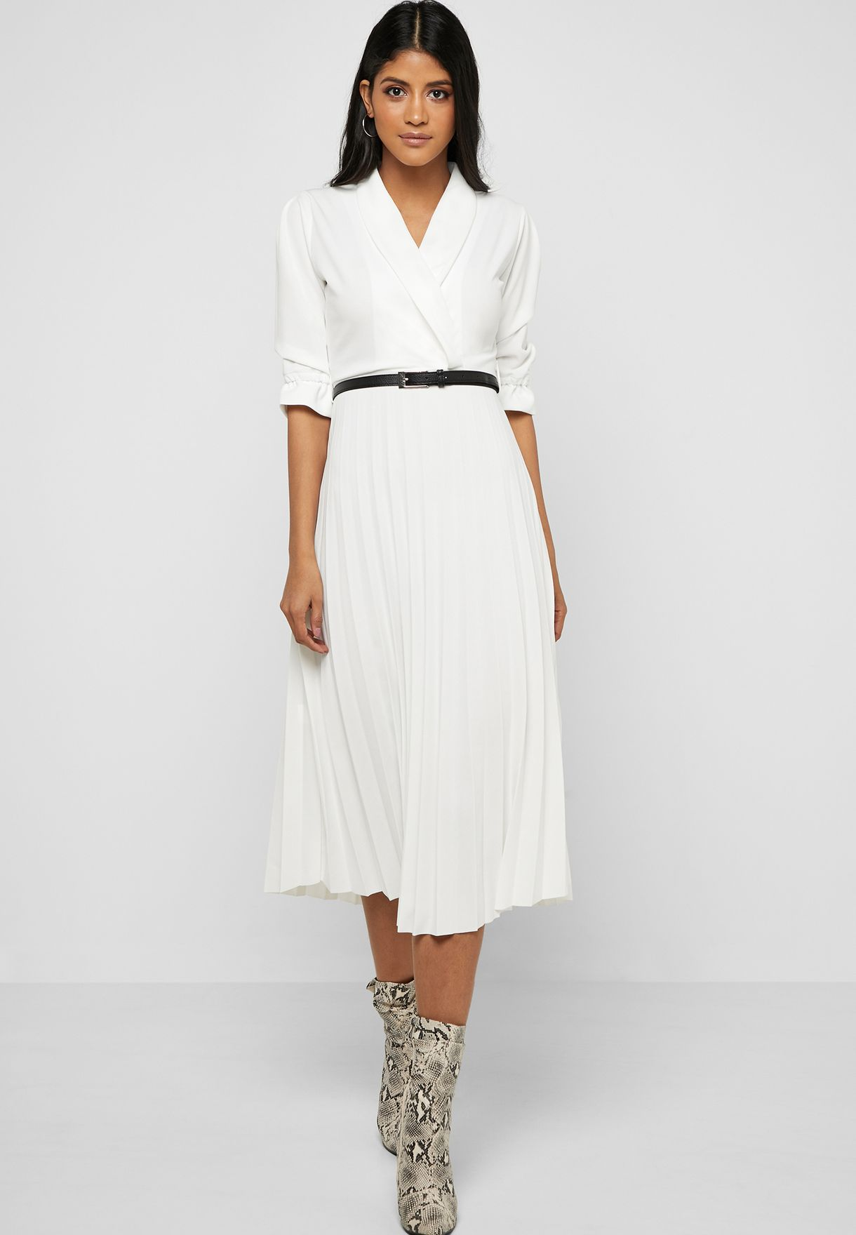 3d5c3619a198 Shop Ella white Pleated Skirt Belted Midi Dress 8959 for Women in ...