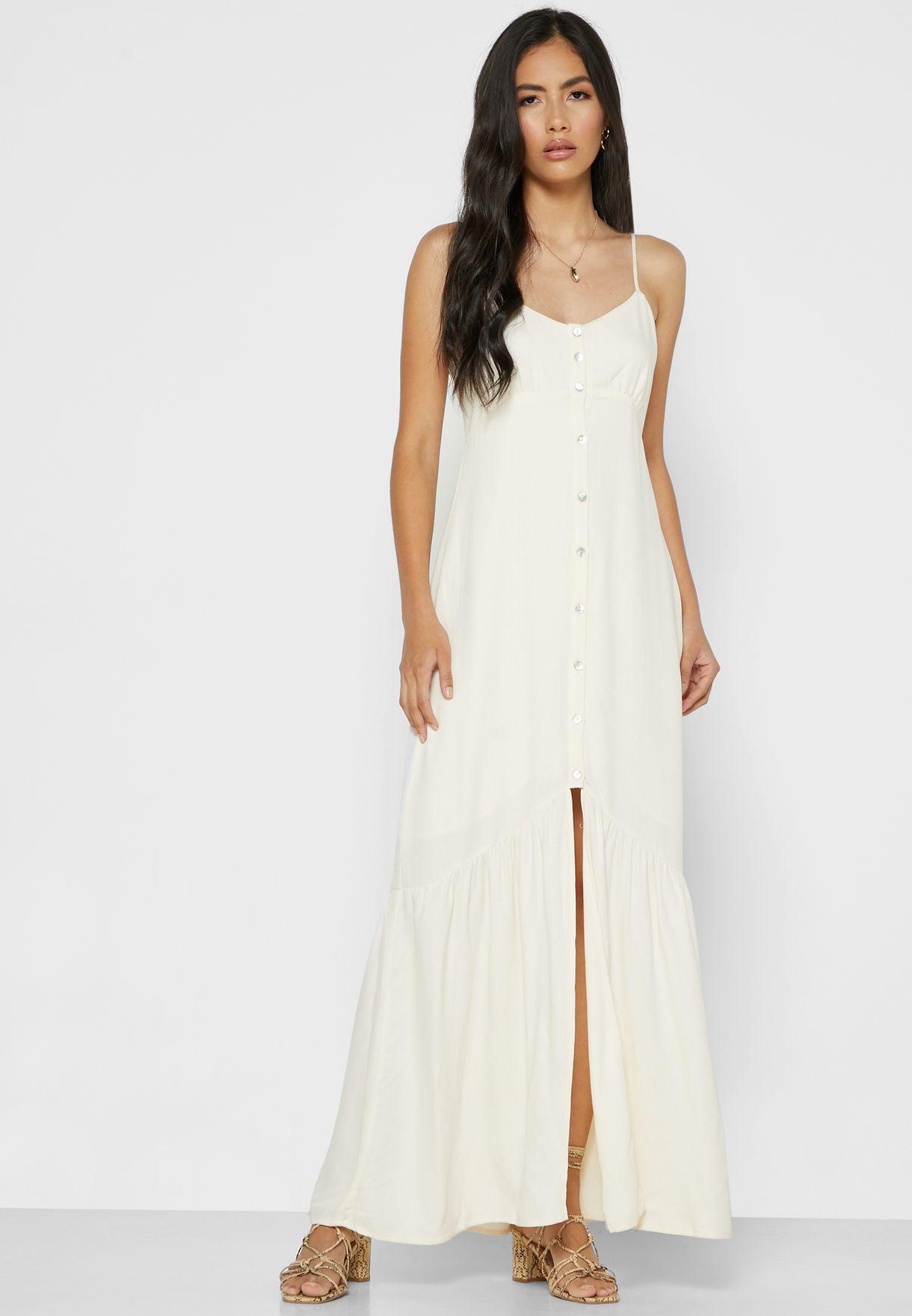 فستان بحمالات كتف وشق امامي