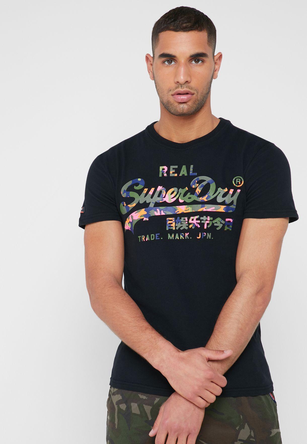2b28ffa6a407a Shop Superdry black Vintage Layered Camo Logo T-Shirt M10996NT for ...