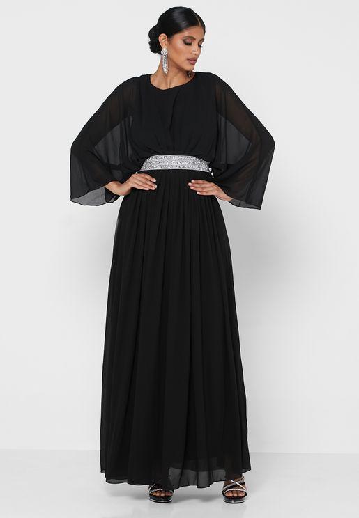 Belted Kimono Sleeve Dress