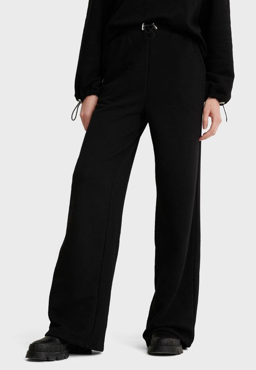 Drawstring Wide Leg Sweatpants