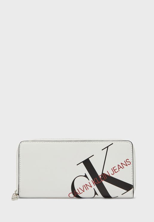Logo Printed Zip Around Purse