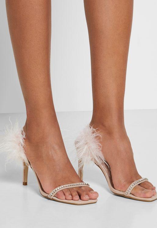 Feather Back Diamanate Heeled Sandal