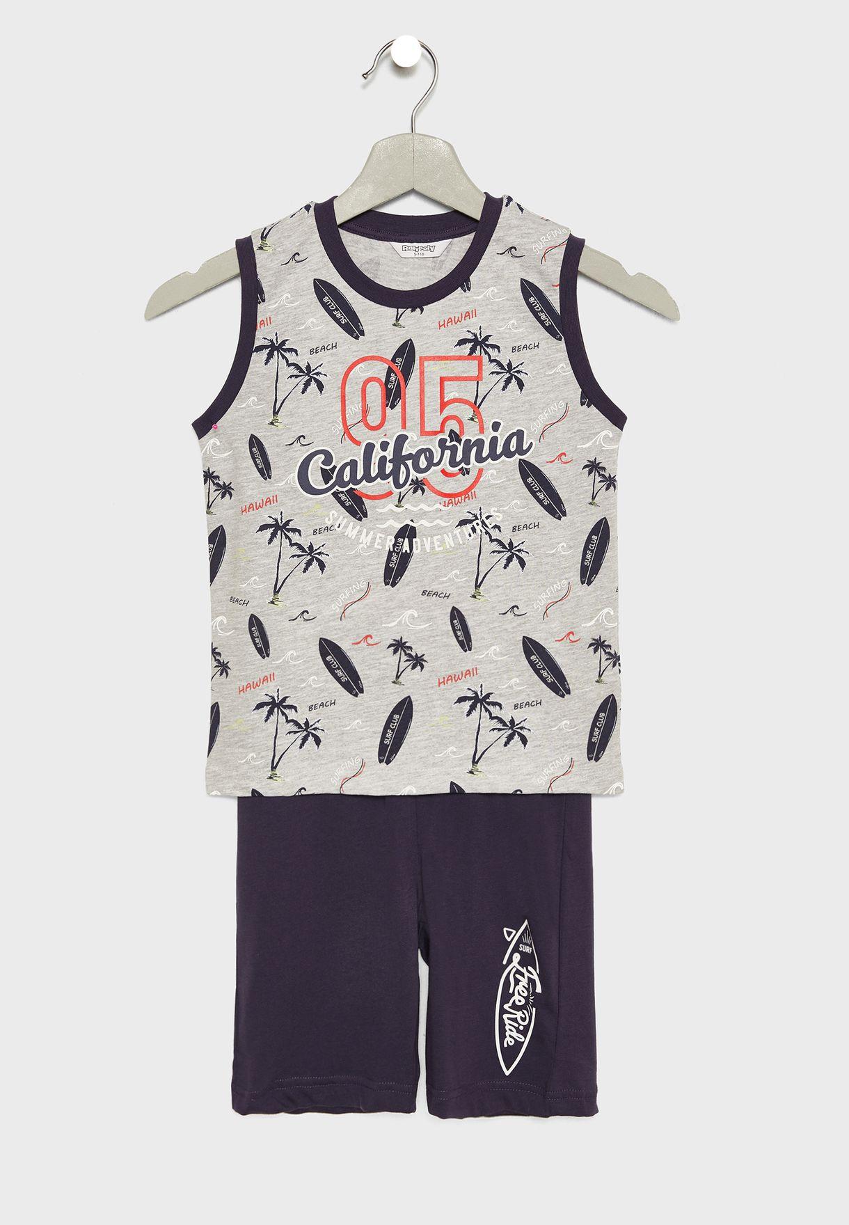 Infant Printed Vest + Shorts Set