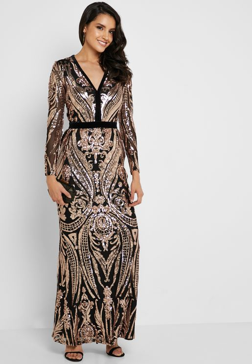 Sequin Embellished Fishtail Dress