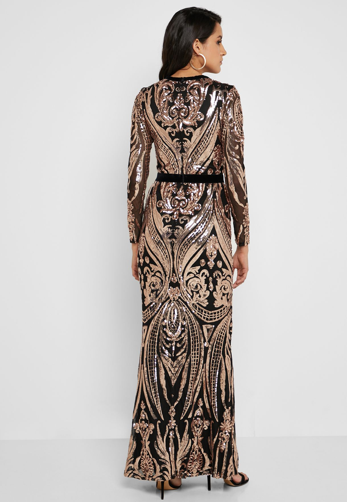 1701622d Quiz Black And Rose Gold Sequin Embellished Fishtail Maxi Dress | Saddha