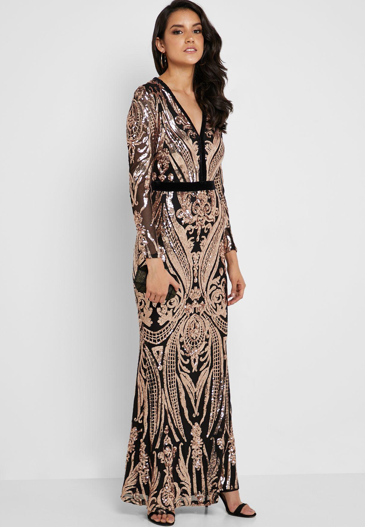 Buy Quiz Black Sequin Embellished Fishtail Dress For Women In Mena Worldwide 100015233