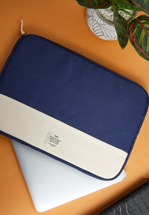 """13"""" Navy With Raw Canvas Laptop Case"""