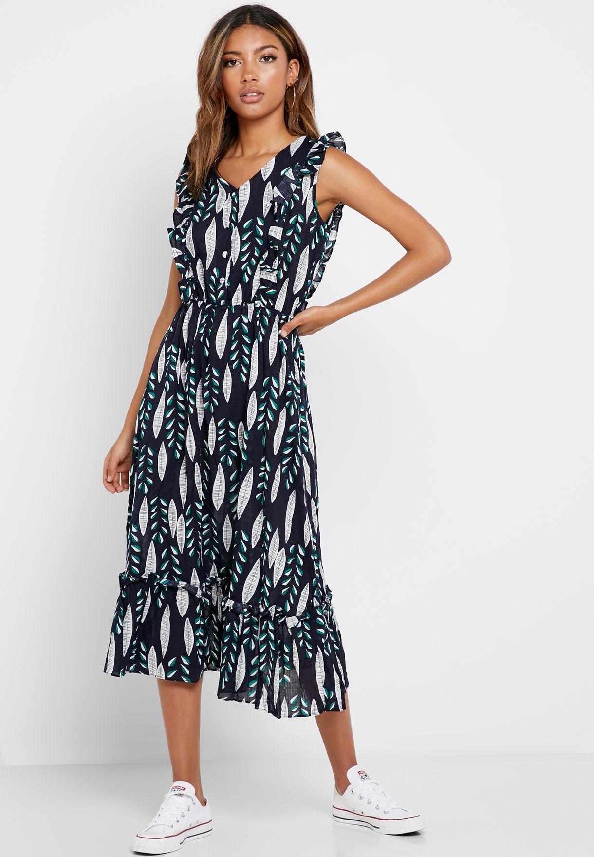 فستان مطبع بكشكش