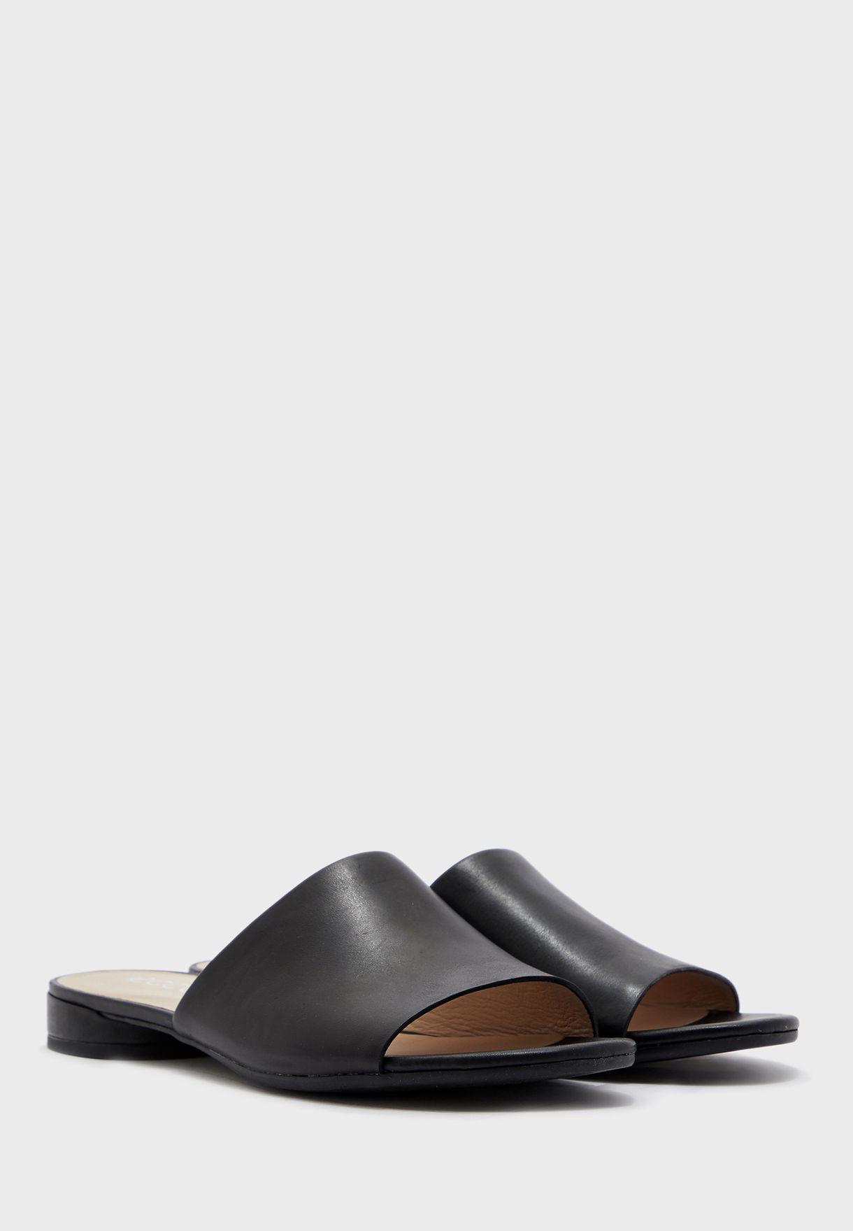 Wide Strap Low Heel Sandals