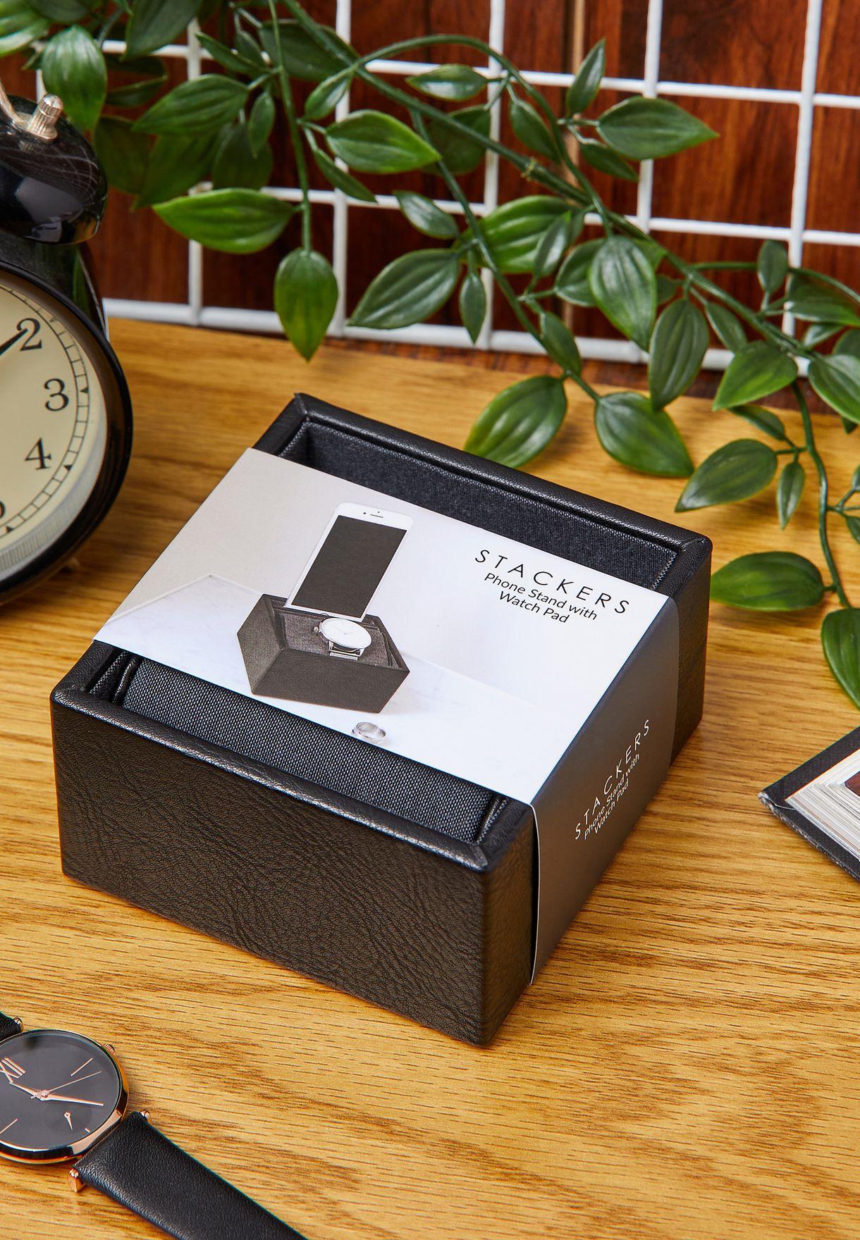 Black Tech & Watch Storage Hub