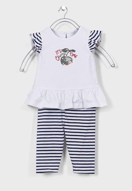 Kids Cherry Print Top + Striped Sweatpants Set