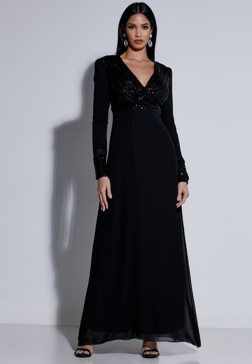 Sequin Top Wrap Front Maxi Dress