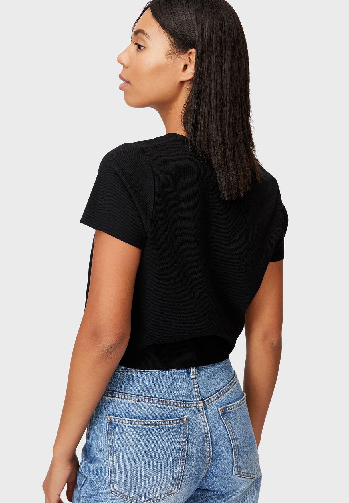 Button Through Short Sleeve Top