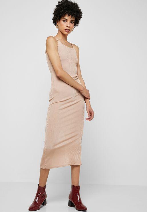 Back Split Ribbed Bodycon Dress