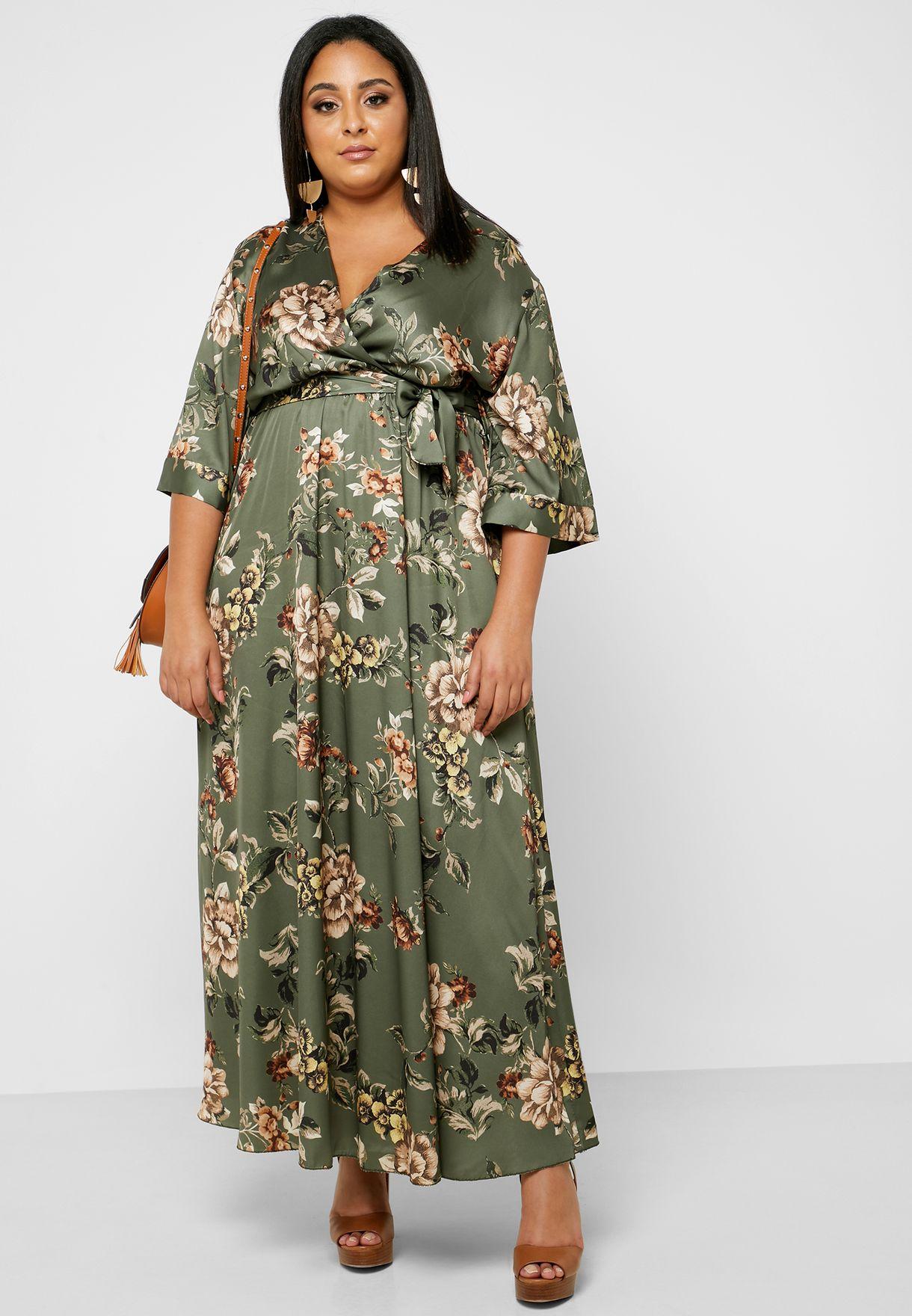 Floral Print Wrap Front Maxi Dress