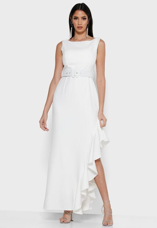 Ruffle Detail Belted Maxi Dress