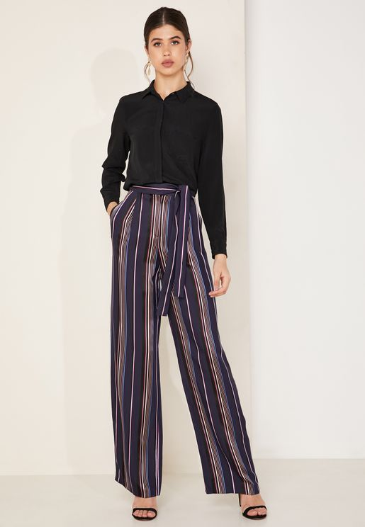 Striped Satin Wide Leg Pants