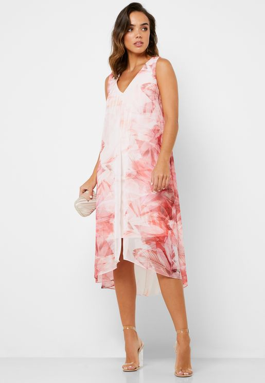 Split Front Printed Dress