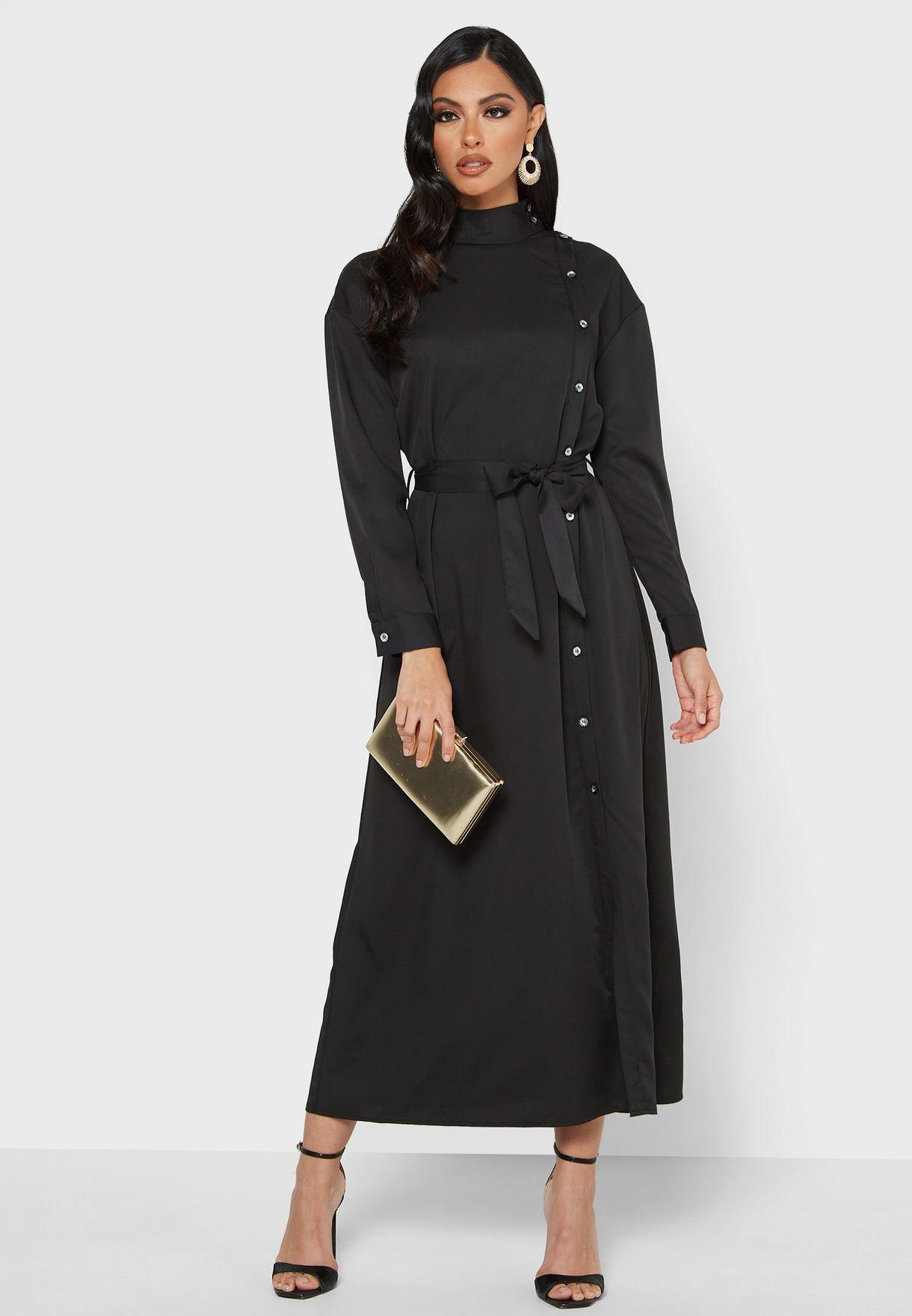 High Neck Side Button Dress
