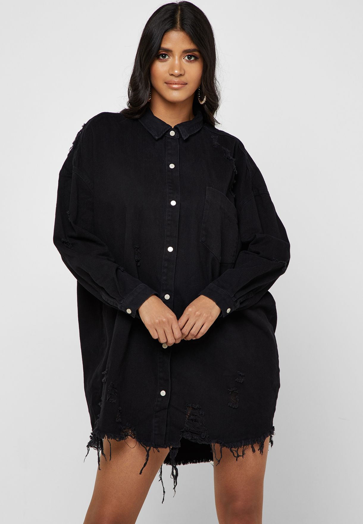 c58bac3607 Shop Missguided black Ripped Denim Shirt Dress G1805565 for Women in UAE -  16640AT17SBP