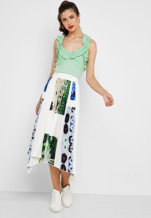 Digital Floral Print Pleated Skirt