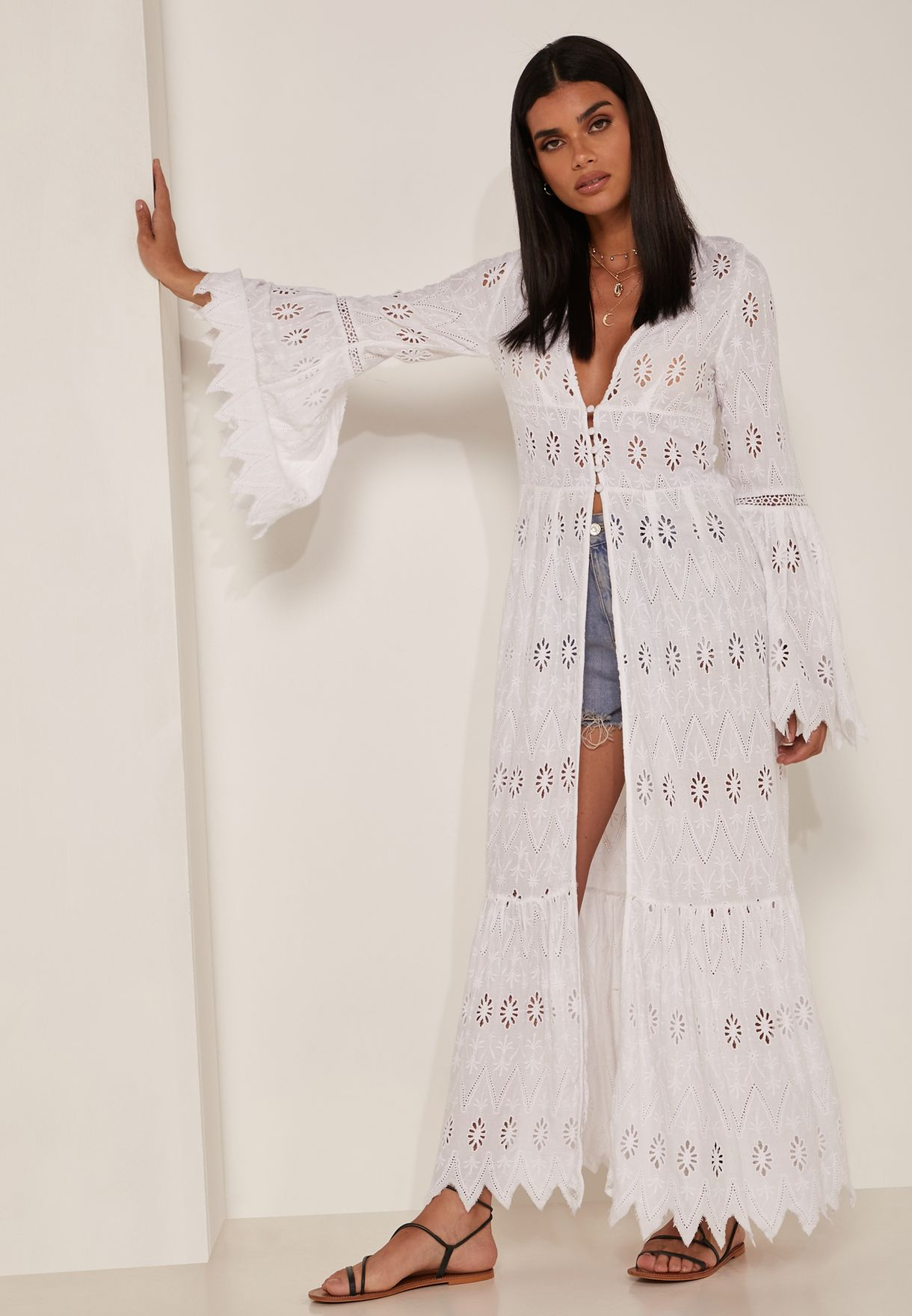Sweetwater Flute Sleeve Broderie Duster Kimono