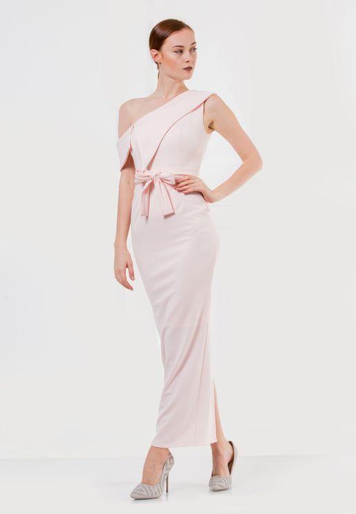 فستان بكتف واحد وثنية