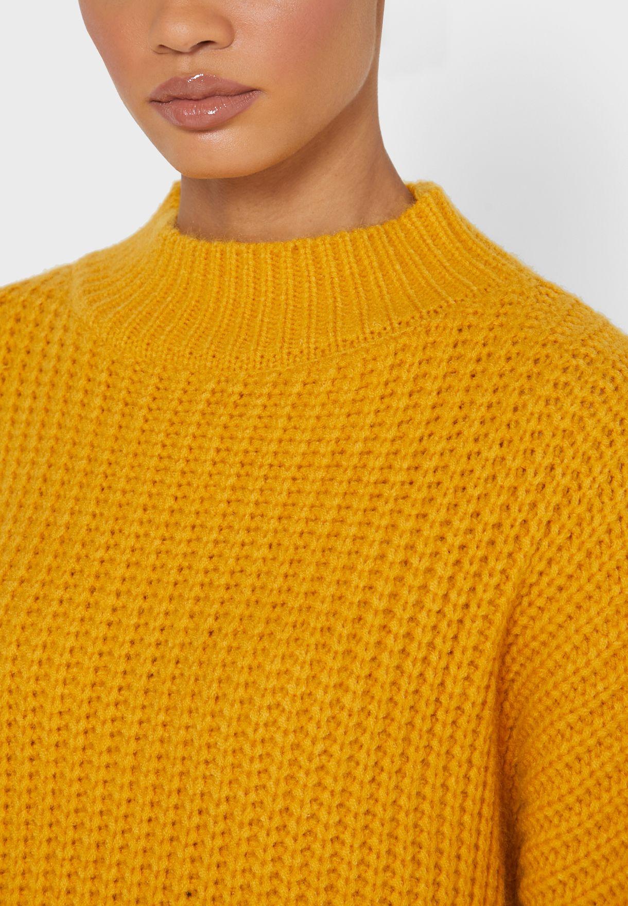 Textured High Neck Sweater