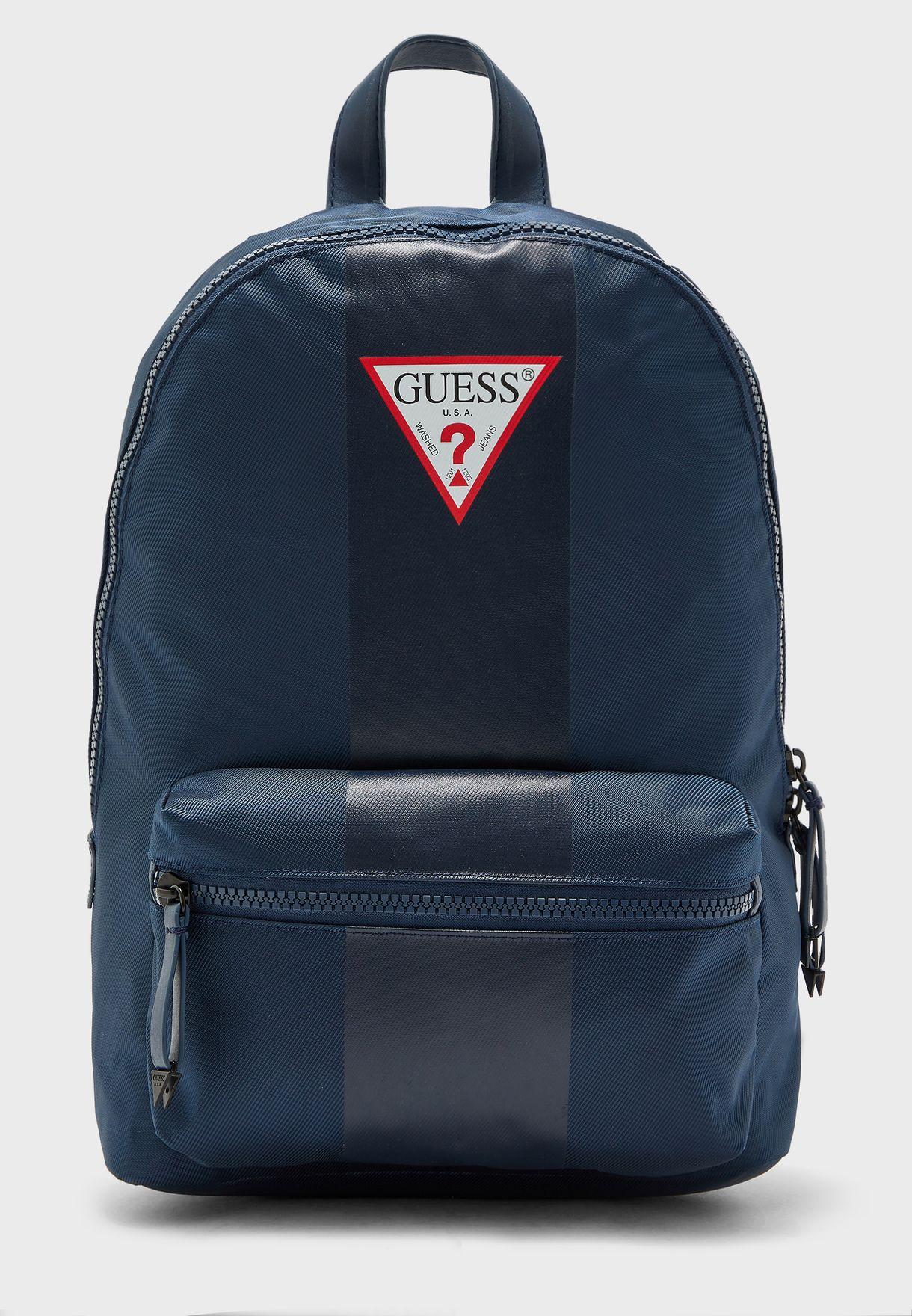 Stripe Detail Logo Backpack