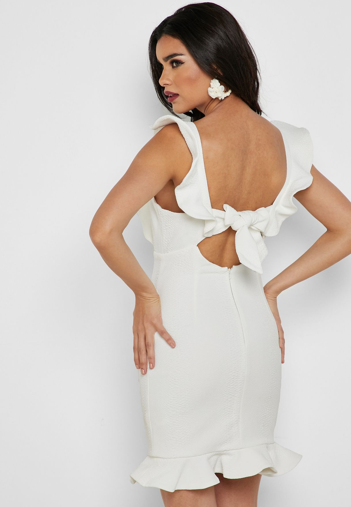Ruffle Detail Bodycon Mini Dress