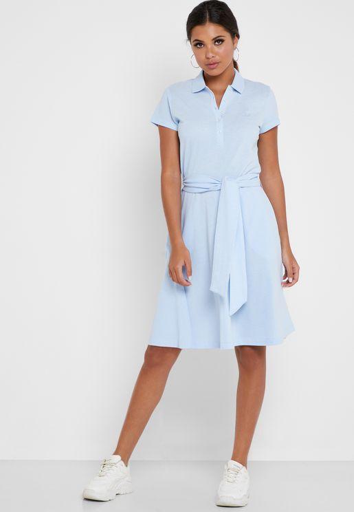 Tie Waist Logo Polo Dress