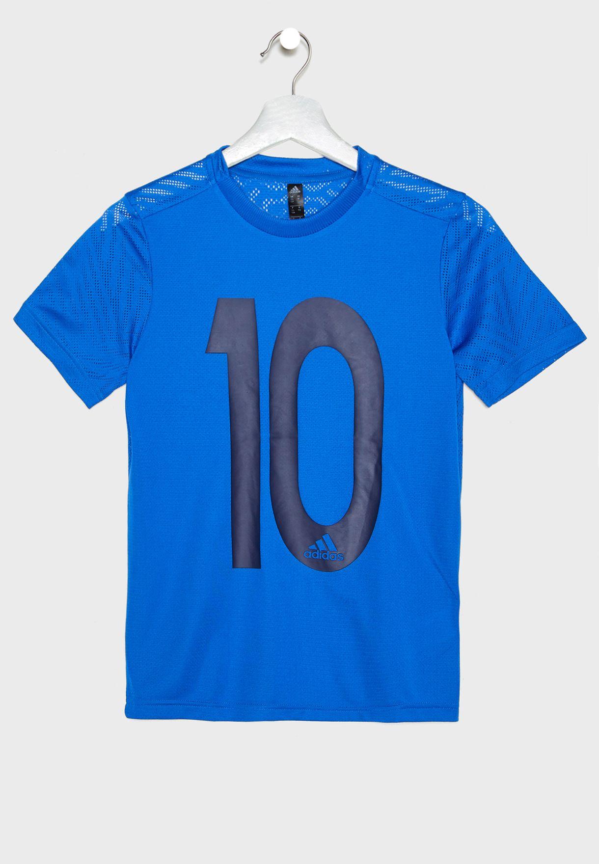 48822c85b Shop adidas blue Youth Messi Icon T-Shirt DV1317 for Kids in UAE ...
