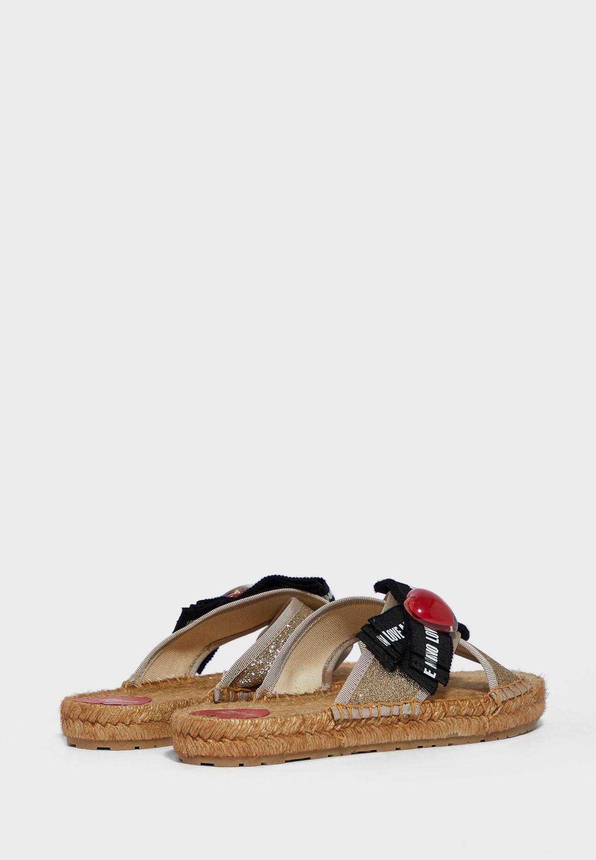 Cross Strap Flat Sandal - Platino