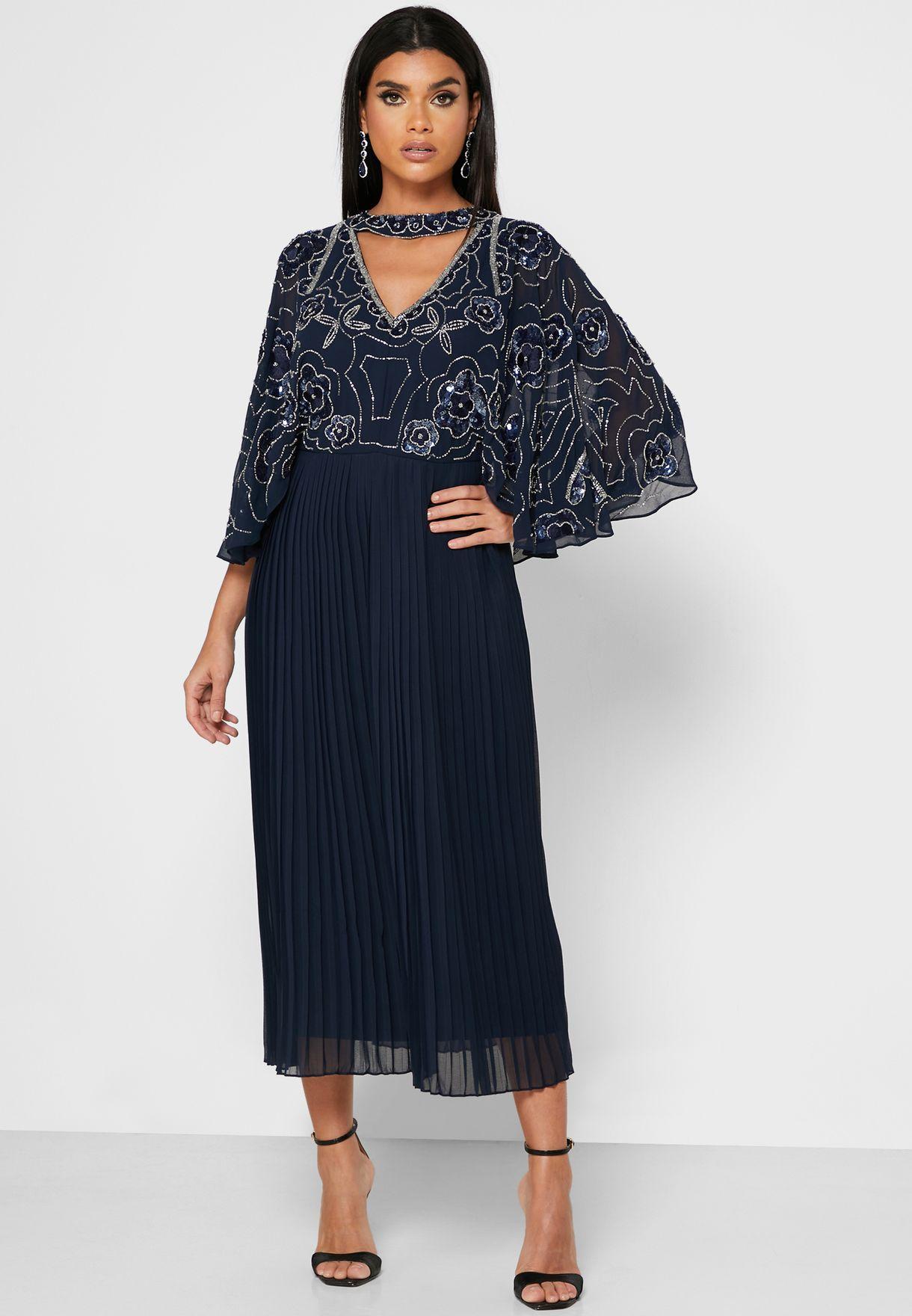 Embellished Angel Sleeve Plisse Dress
