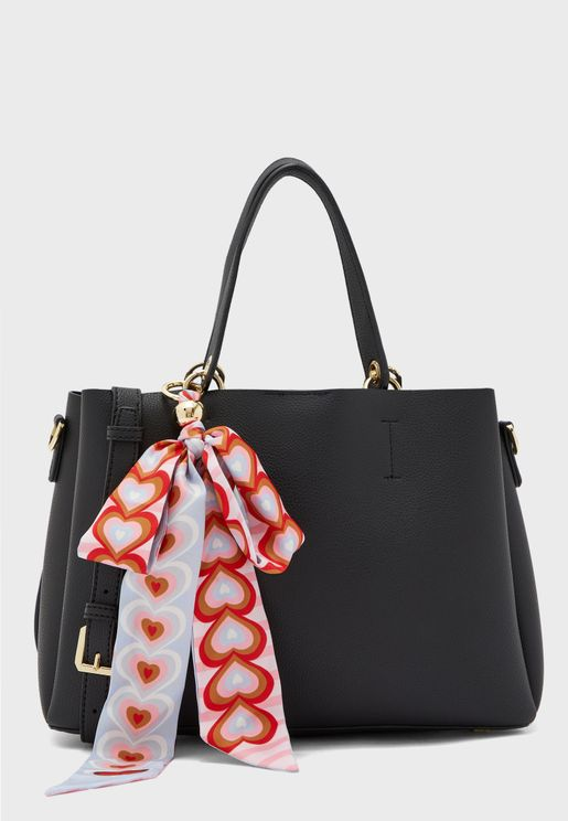 Scarf Detail Double Handle Tote
