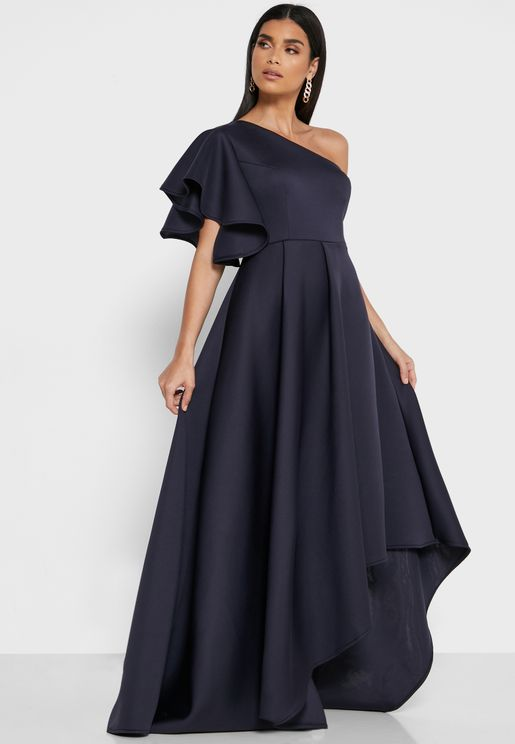 Scuba Frill One Shoulder Midi Dress