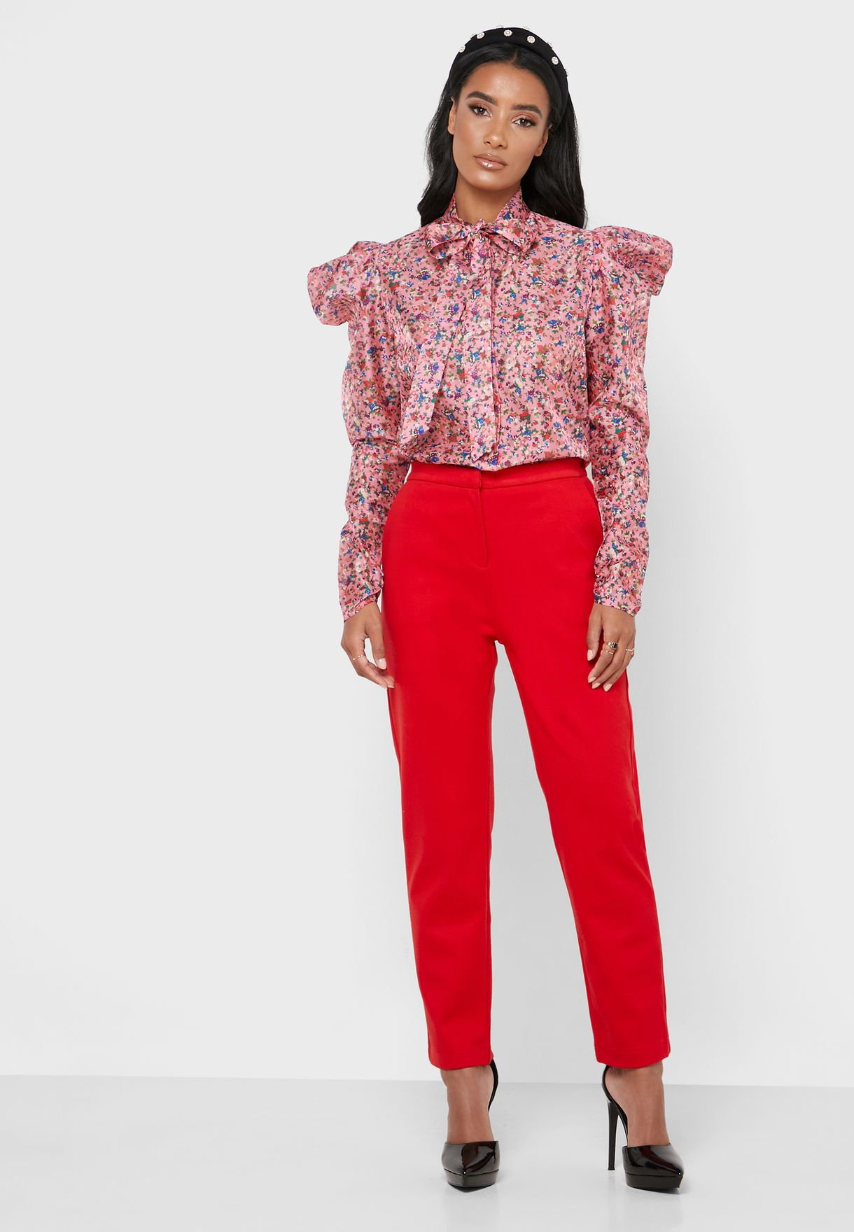 Tie Neck Floral Print Puff Sleeve Shirt