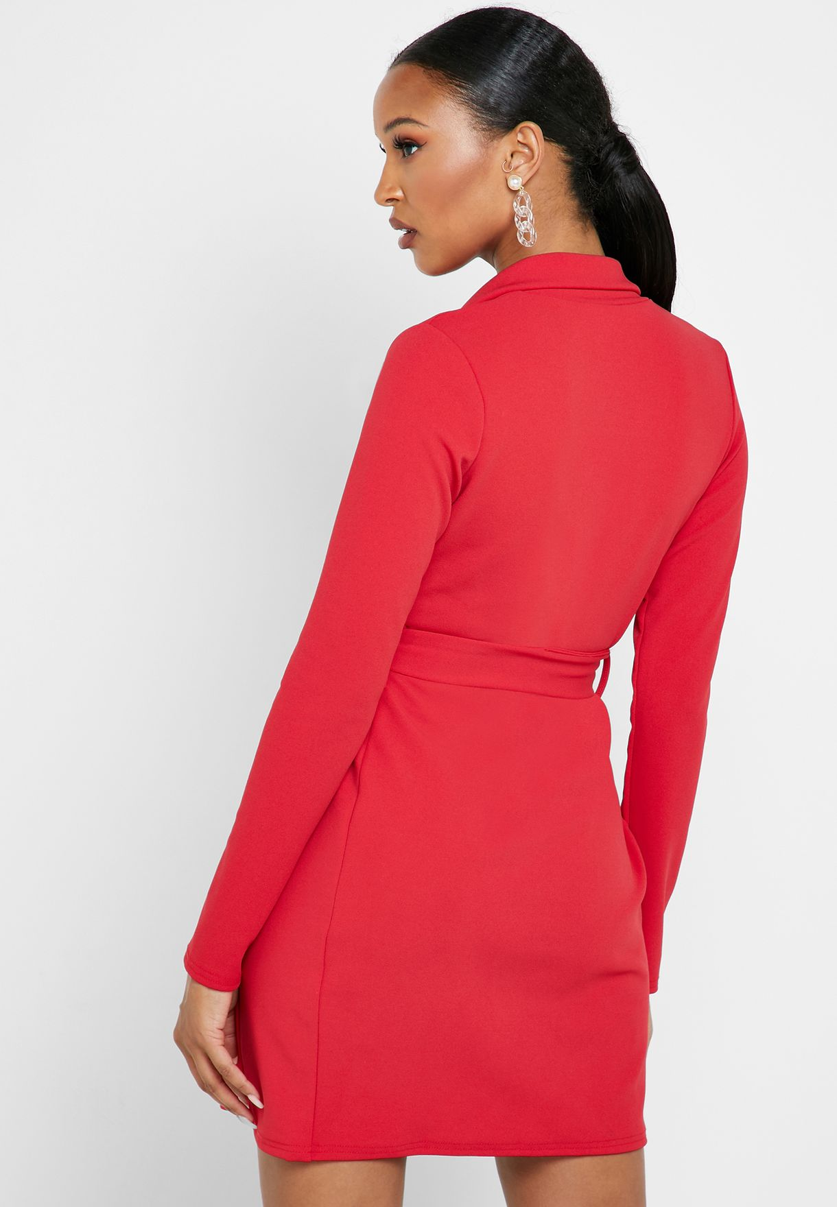 Tie Waist Wrap Blazer Dress
