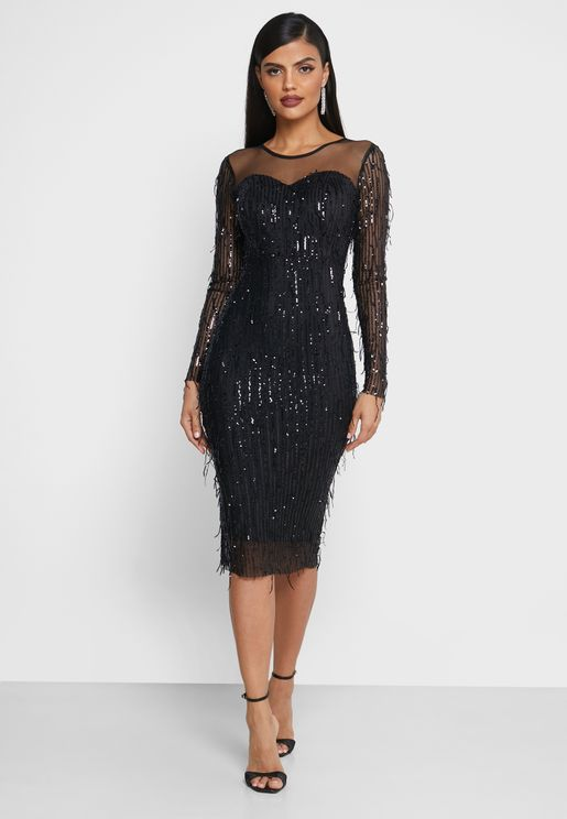 فستان ميدي مزين بترتر