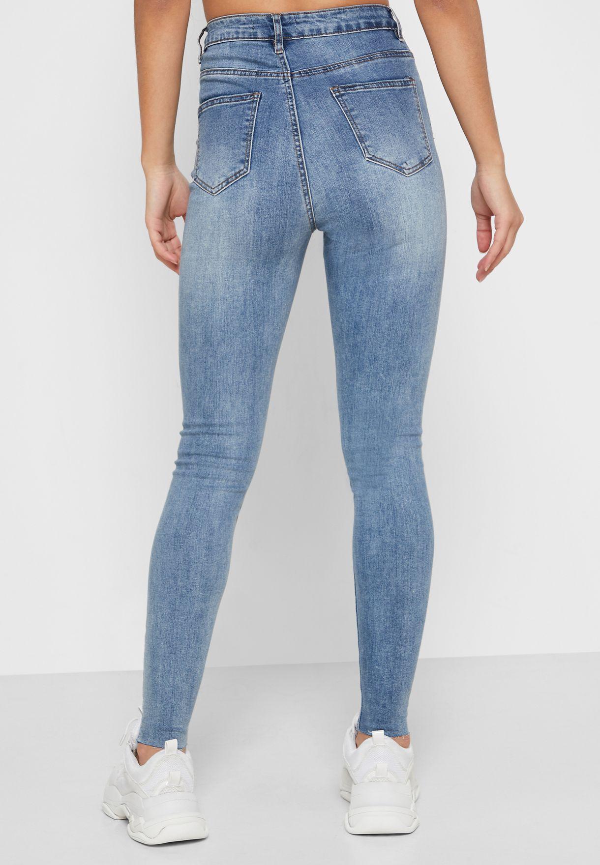 Sinner  High Waist Raw Hem Jeans