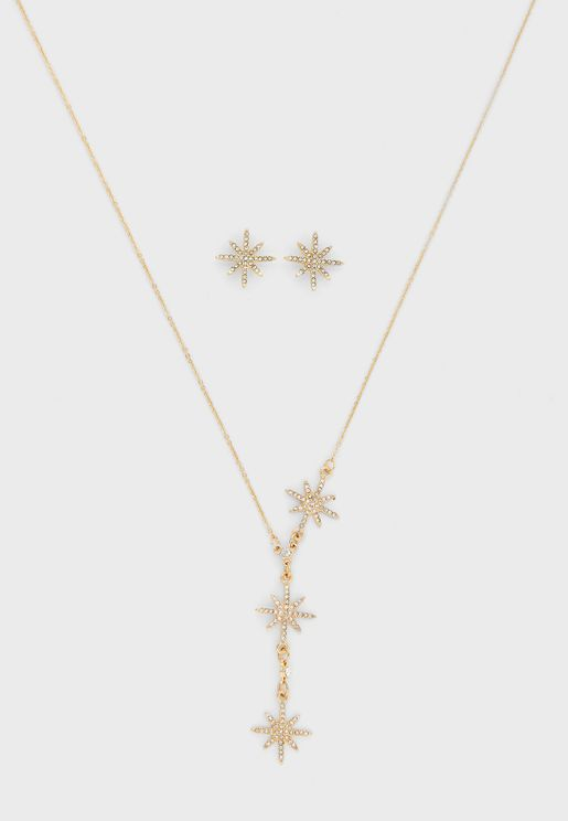 Embellished Star Necklace And Earring Set