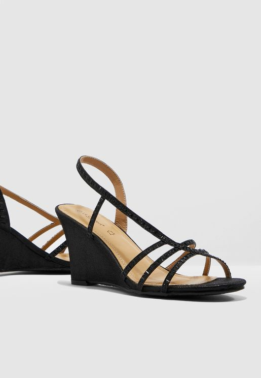 Multi Strap Wedge Sandal - Black