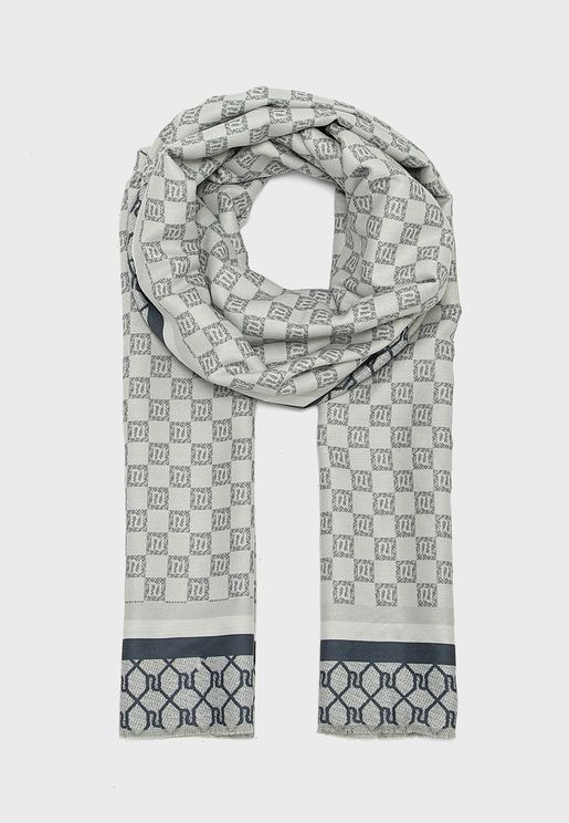Grey Checkboard Scarves