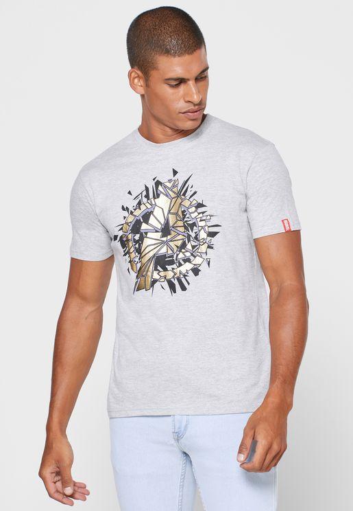 Gold Foil Avenger Crew Neck T Shirt